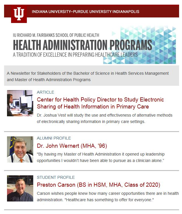 Health Administration Newsletter Screenshot