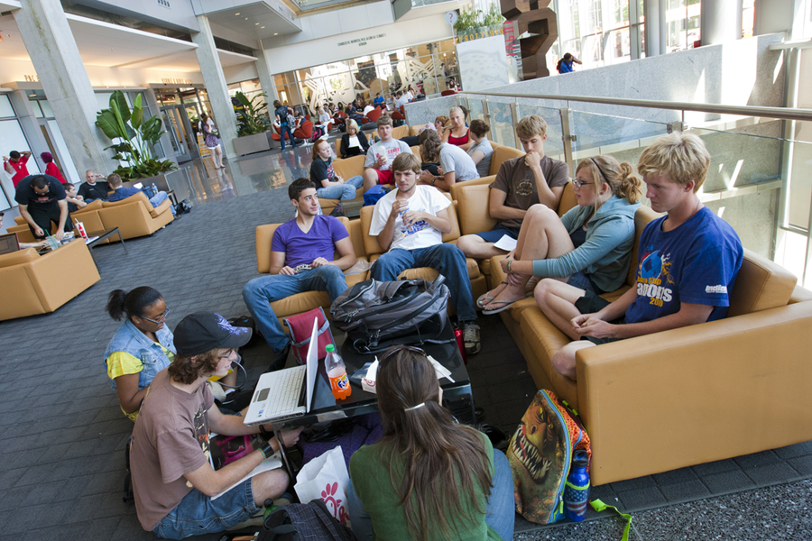 Students in the IUPUI Campus Center