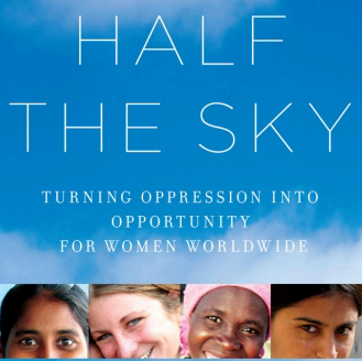 Book cover for Half the Sky, Turning Oppression into Opportunity for Women Worldwide. Clouds on a blue sky background and photos of women from around the world.