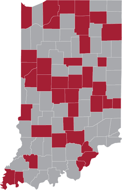 Indiana Counties Served by the Center for Public Health Practice